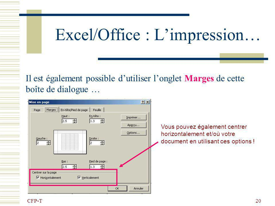 Excel/Office : L'impression…