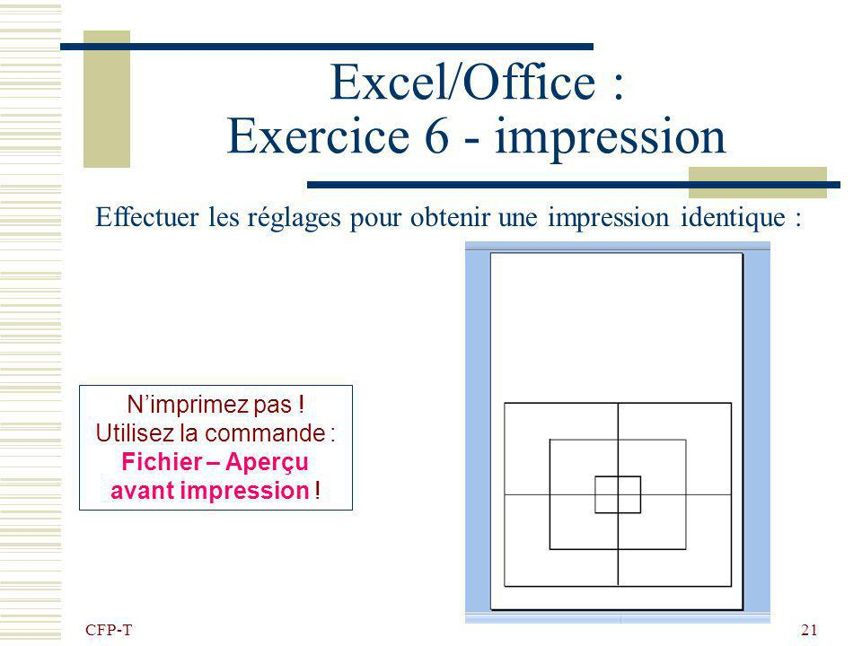 Excel/Office : Exercice 6 - impression