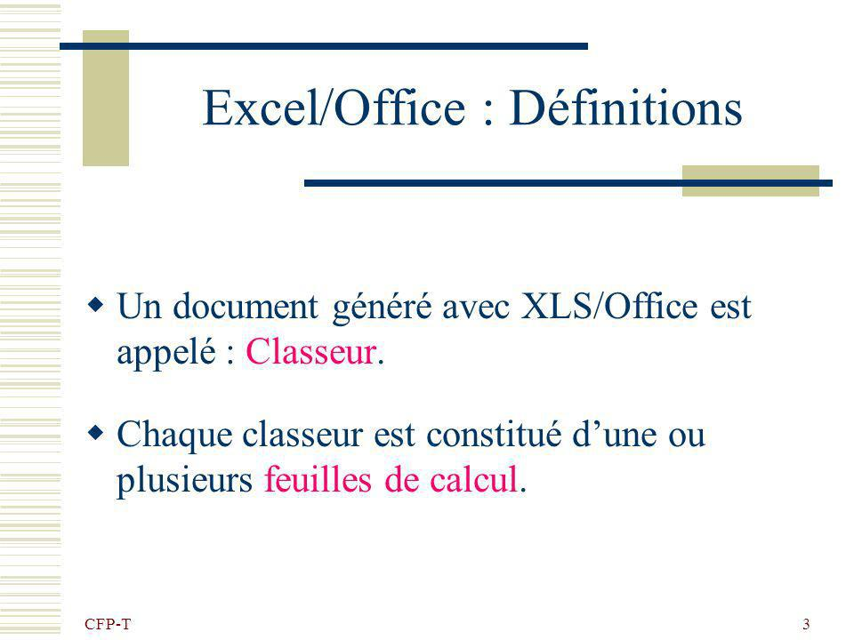 Excel/Office : Définitions
