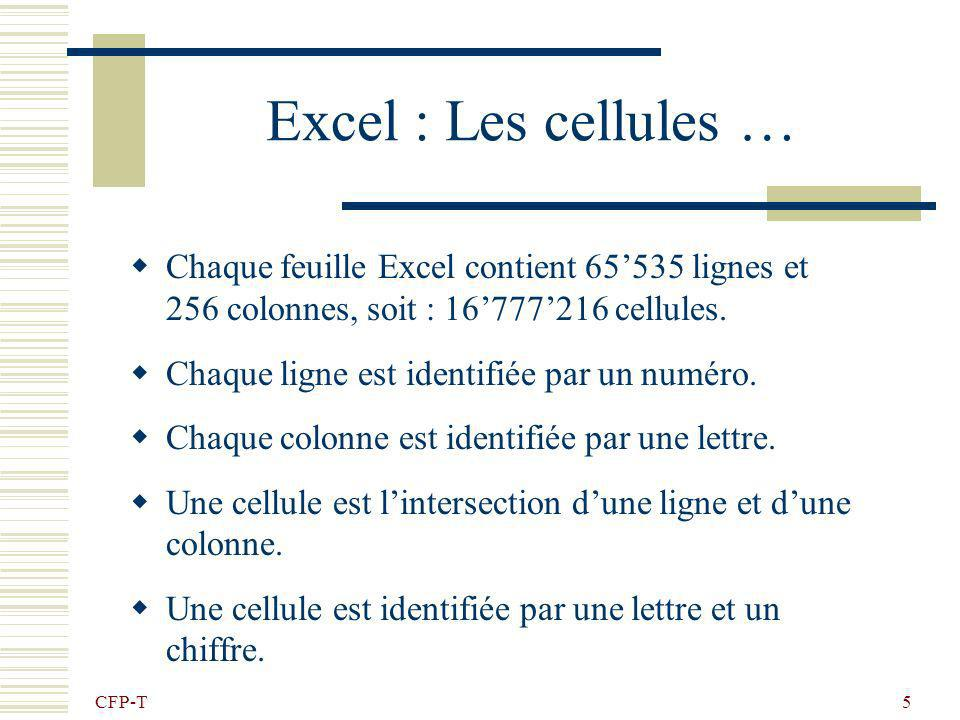 Excel : Les cellules … Chaque feuille Excel contient 65'535 lignes et 256 colonnes, soit : 16'777'216 cellules.