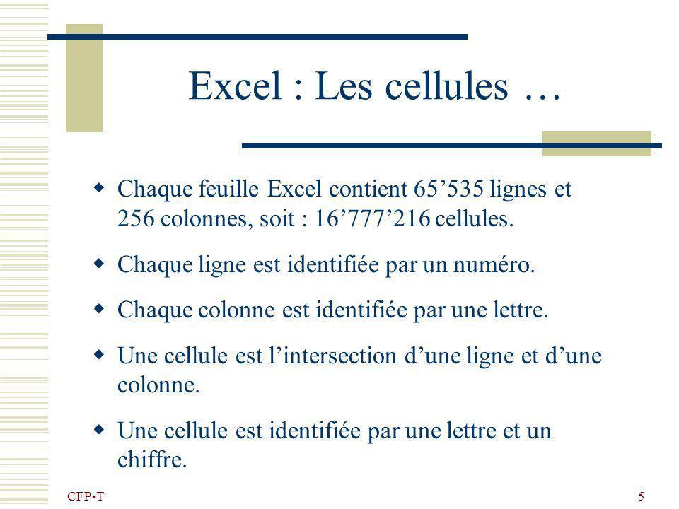 Excel : Les cellules …Chaque feuille Excel contient 65'535 lignes et 256 colonnes, soit : 16'777'216 cellules.