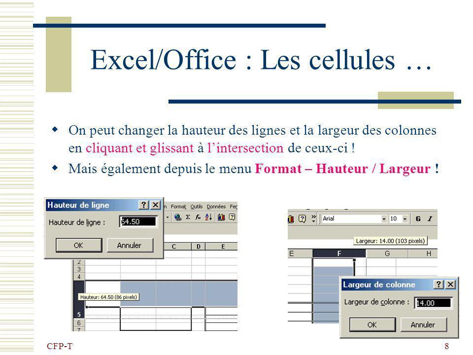 Excel/Office : Les cellules …