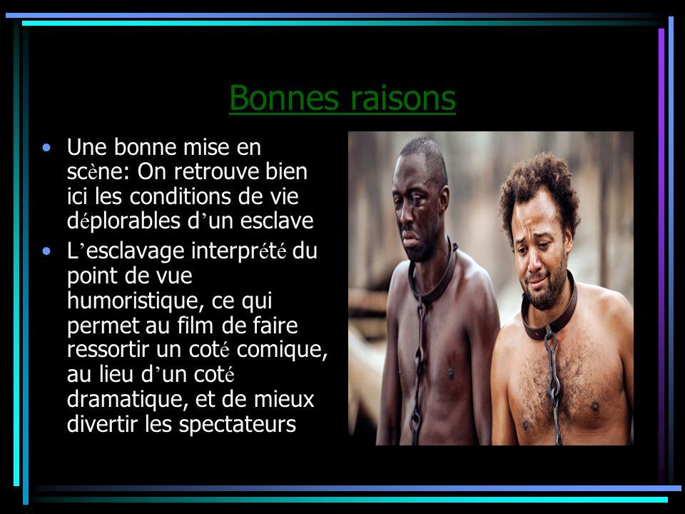 Bonnes raisons Une bonne mise en scène: On retrouve bien ici les conditions de vie déplorables d'un esclave.
