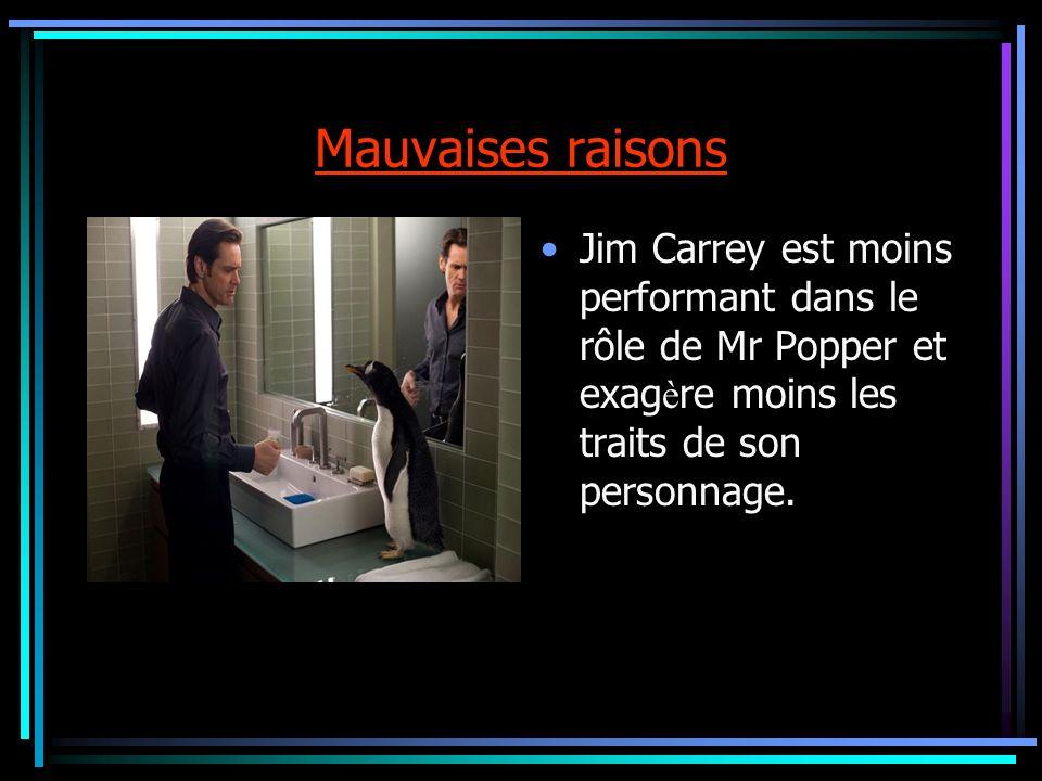 Mauvaises raisonsJim Carrey est moins performant dans le rôle de Mr Popper et exagère moins les traits de son personnage.