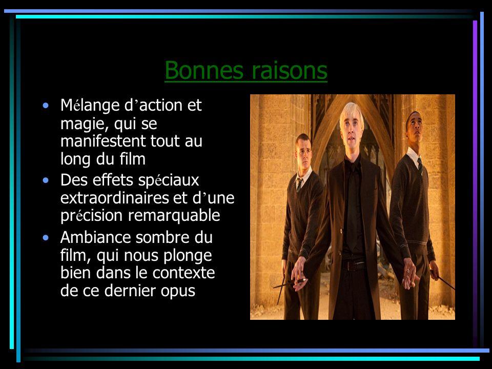 Bonnes raisonsMélange d'action et magie, qui se manifestent tout au long du film. Des effets spéciaux extraordinaires et d'une précision remarquable.