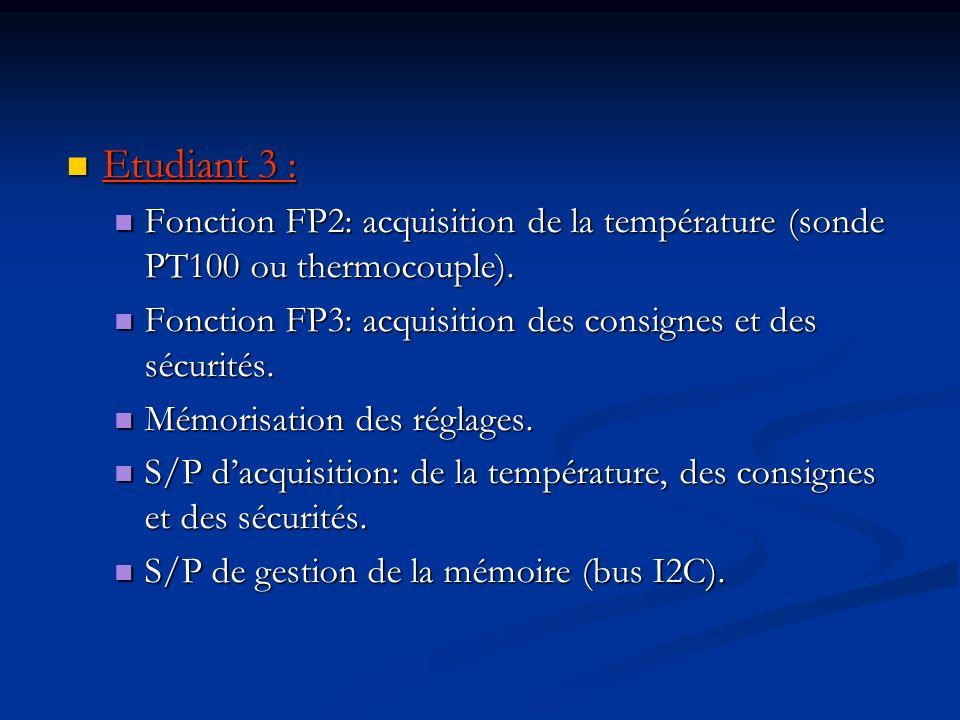 Etudiant 3 : Fonction FP2: acquisition de la température (sonde PT100 ou thermocouple). Fonction FP3: acquisition des consignes et des sécurités.
