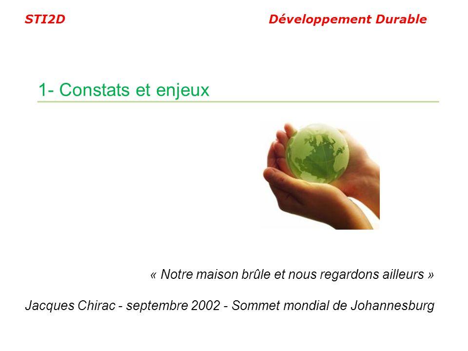 1- Constats et enjeux « Notre maison brûle et nous regardons ailleurs » Jacques Chirac - septembre 2002 - Sommet mondial de Johannesburg.