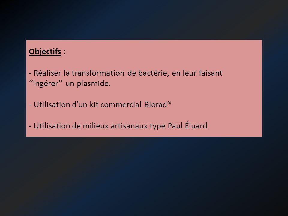 Objectifs : - Réaliser la transformation de bactérie, en leur faisant ''ingérer'' un plasmide. - Utilisation d'un kit commercial Biorad®