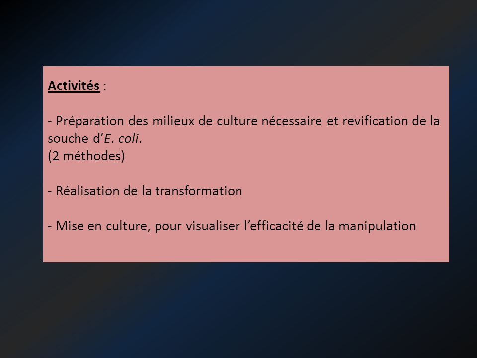 Activités : Préparation des milieux de culture nécessaire et revification de la souche d'E. coli. (2 méthodes)