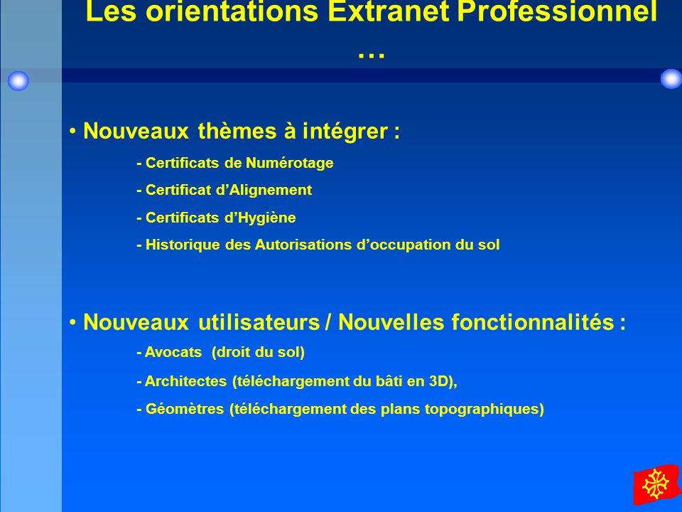 Les orientations Extranet Professionnel …