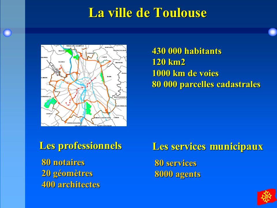 La ville de Toulouse 430 000 habitants 120 km2 1000 km de voies 80 000 parcelles cadastrales.