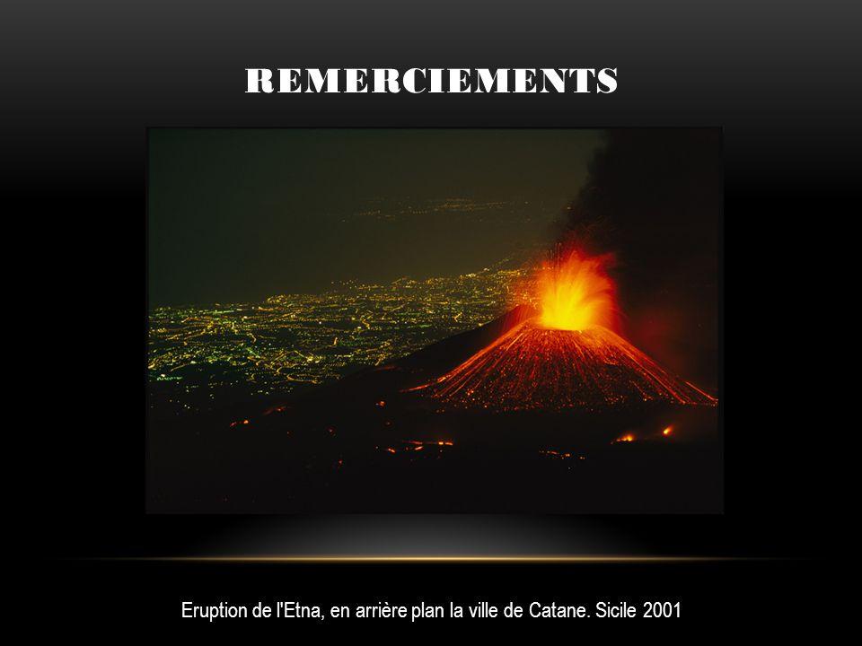 Remerciements Eruption de l Etna, en arrière plan la ville de Catane. Sicile 2001
