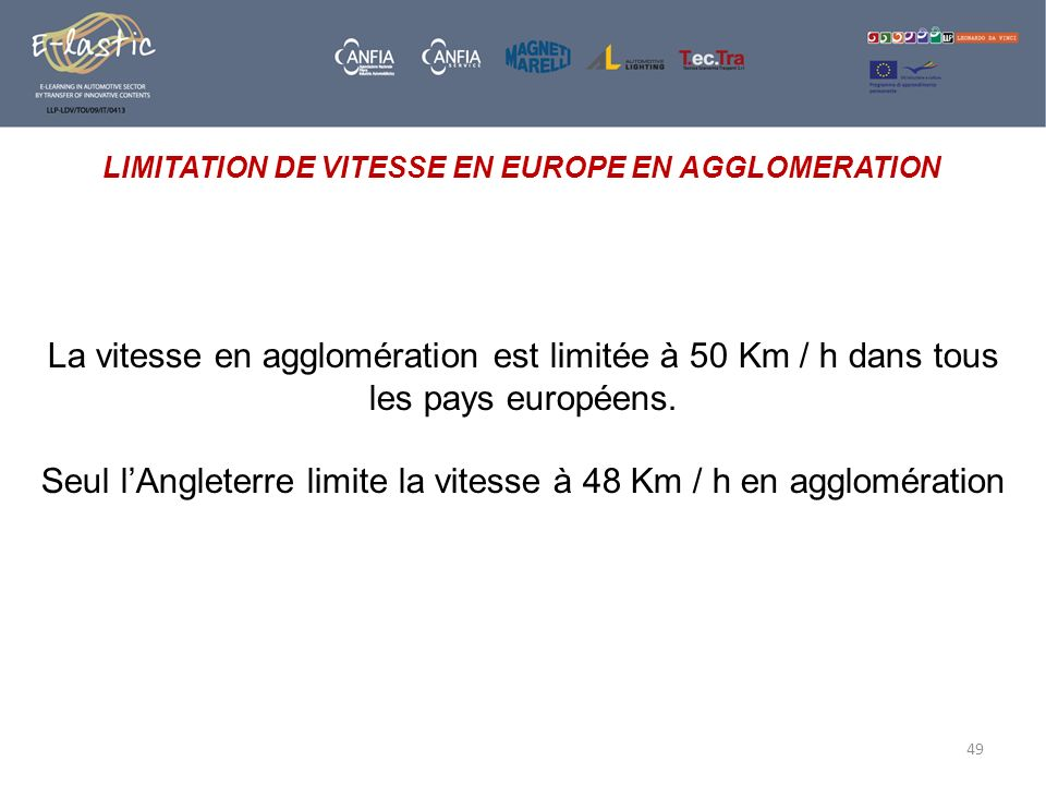 LIMITATION DE VITESSE EN EUROPE EN AGGLOMERATION