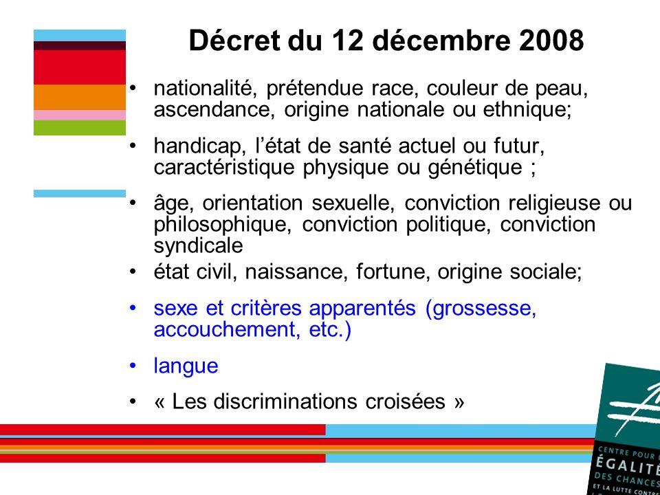 Décret du 12 décembre 2008 nationalité, prétendue race, couleur de peau, ascendance, origine nationale ou ethnique;
