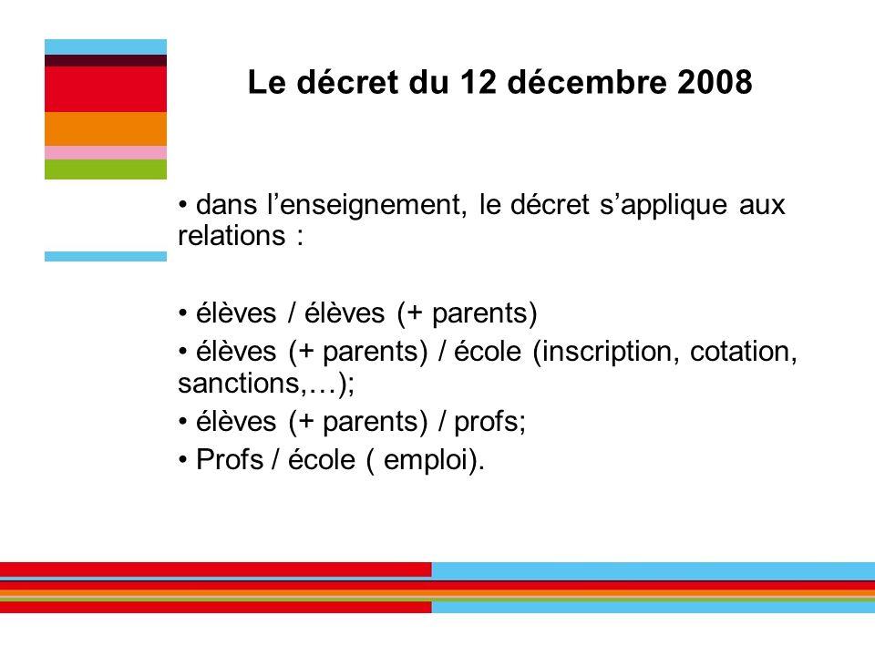 Le décret du 12 décembre 2008 dans l'enseignement, le décret s'applique aux relations : élèves / élèves (+ parents)