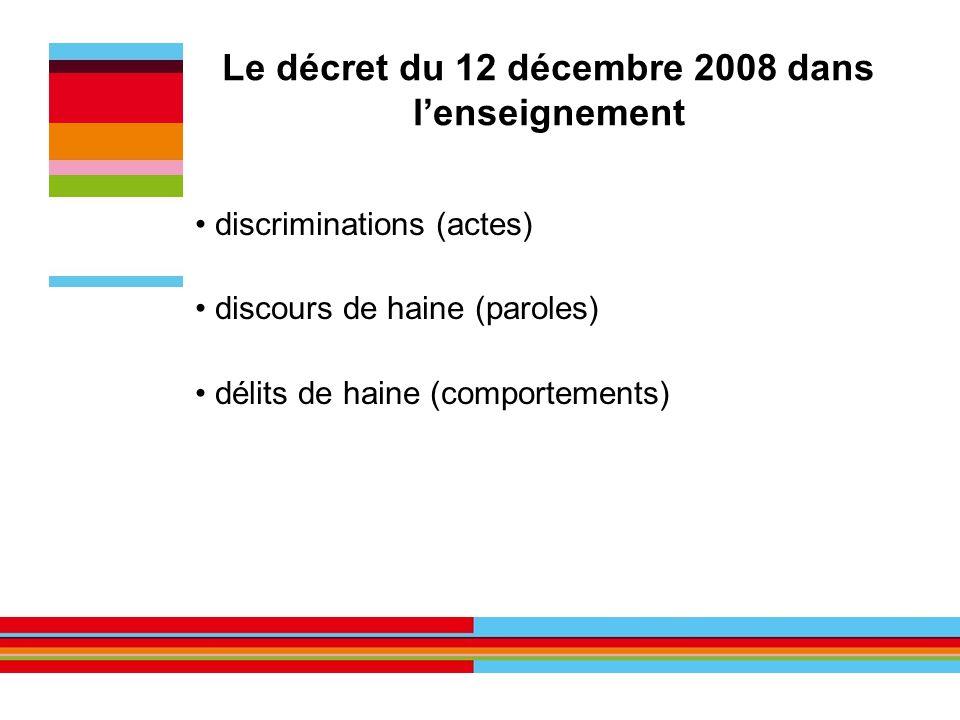 Le décret du 12 décembre 2008 dans l'enseignement