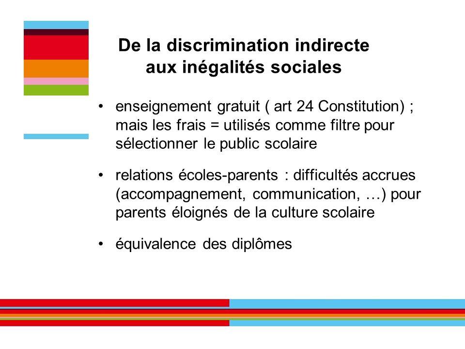 De la discrimination indirecte aux inégalités sociales