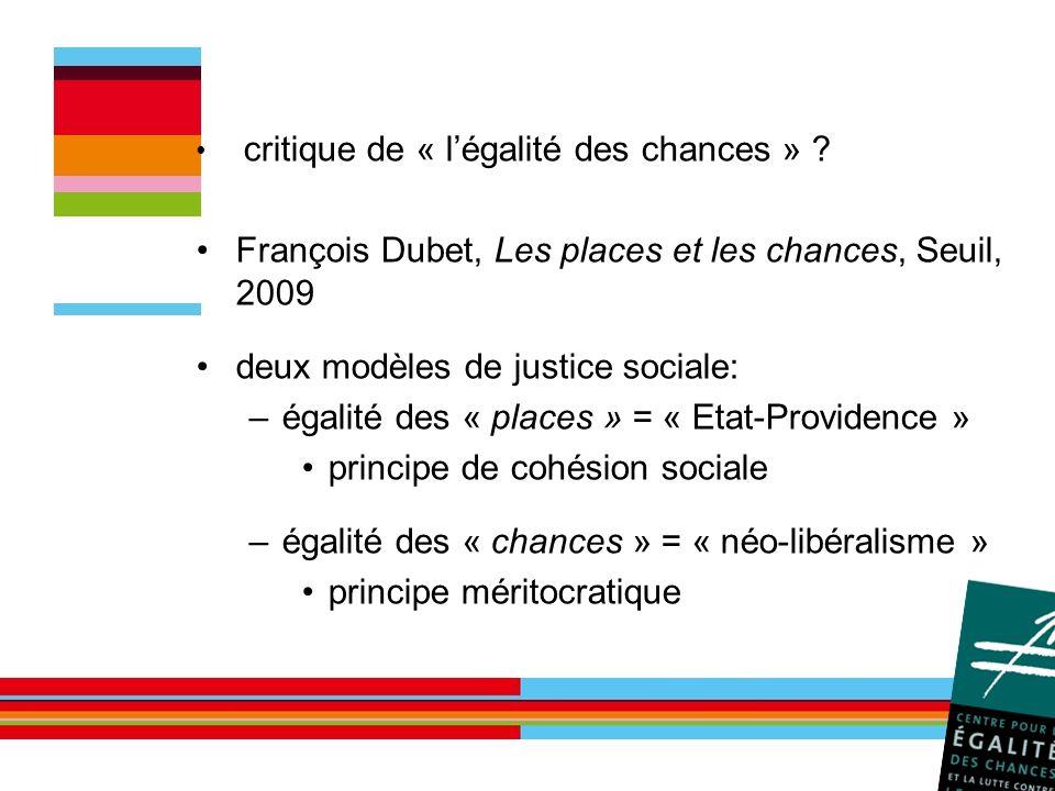 François Dubet, Les places et les chances, Seuil, 2009