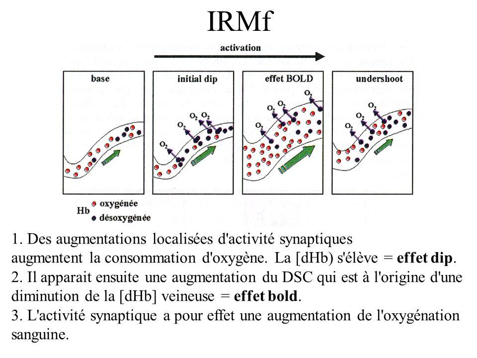 IRMf 1. Des augmentations localisées d activité synaptiques