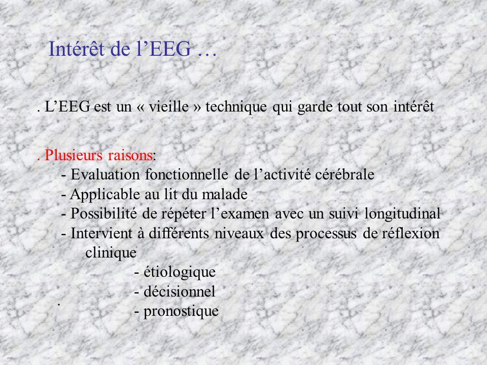 Intérêt de l'EEG … . L'EEG est un « vieille » technique qui garde tout son intérêt. . Plusieurs raisons: