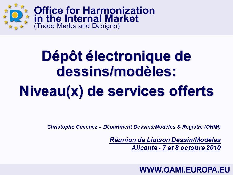 Dépôt électronique de dessins/modèles: Niveau(x) de services offerts