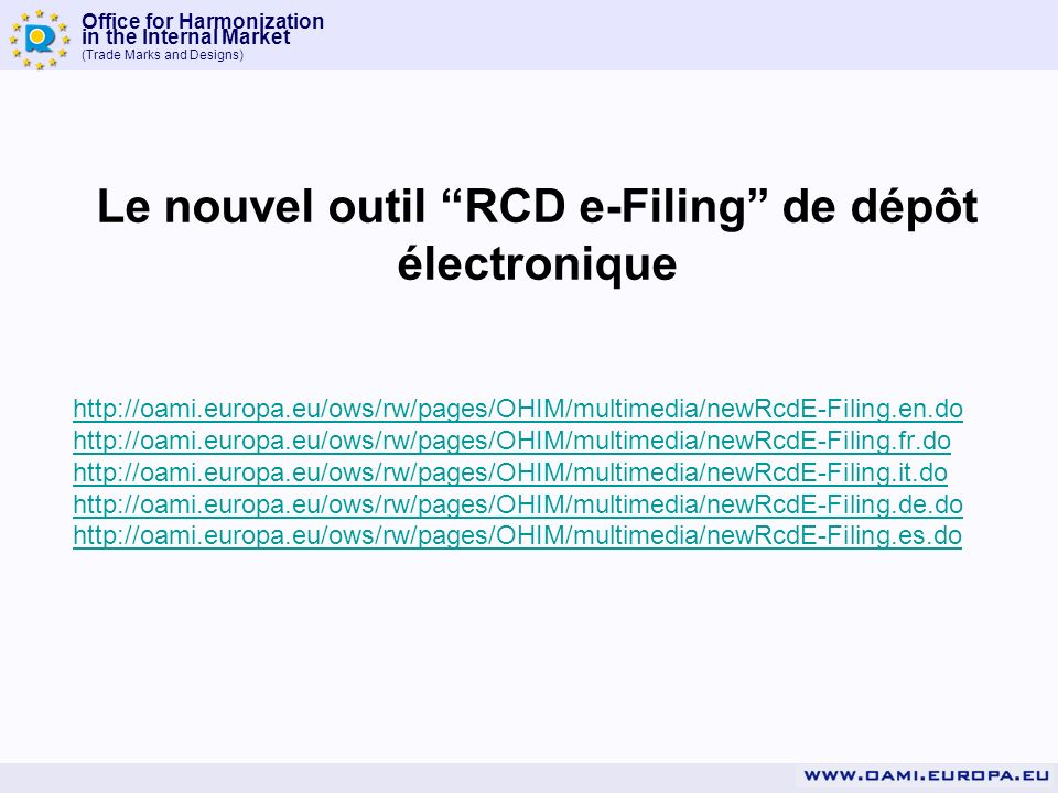 Le nouvel outil RCD e-Filing de dépôt électronique