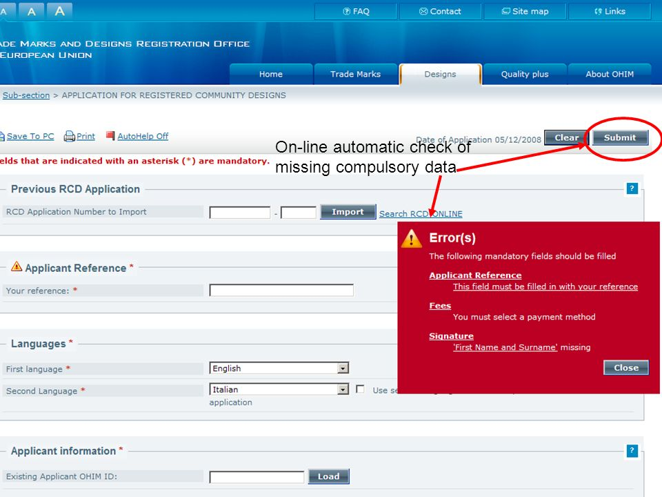 On-line automatic check of missing compulsory data