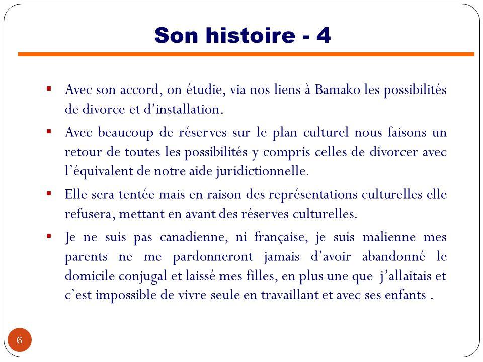 Son histoire - 4 Avec son accord, on étudie, via nos liens à Bamako les possibilités de divorce et d'installation.