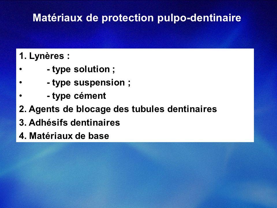 Matériaux de protection pulpo-dentinaire