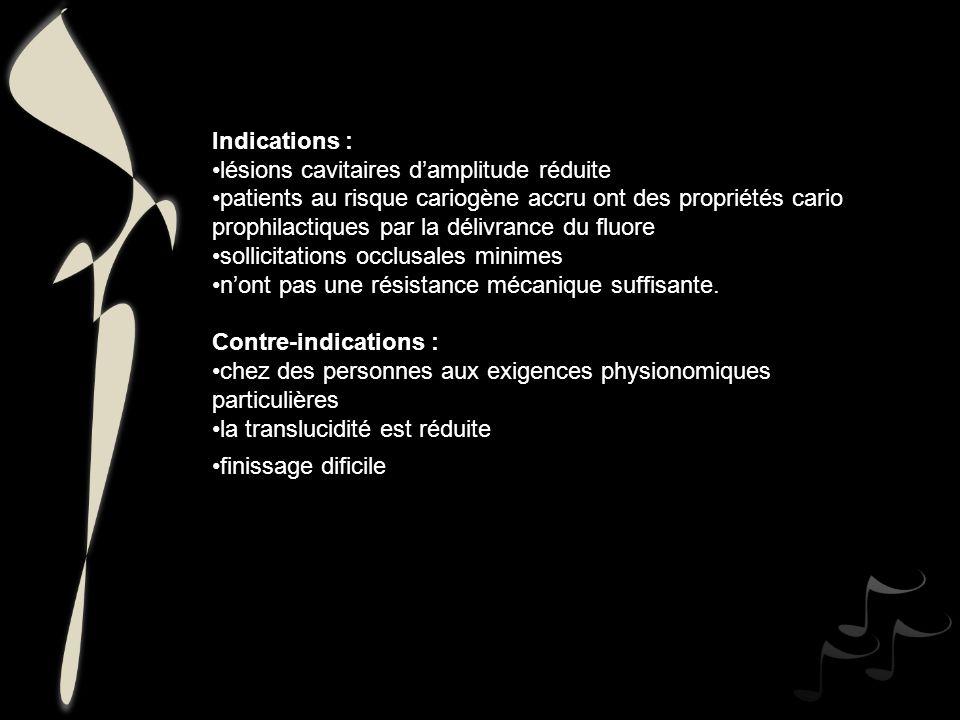 Indications : lésions cavitaires d'amplitude réduite.