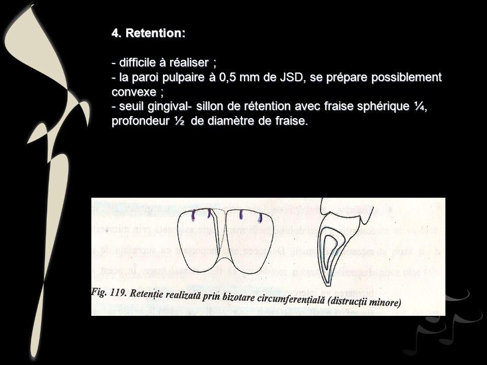 4. Retention: - difficile à réaliser ; - la paroi pulpaire à 0,5 mm de JSD, se prépare possiblement convexe ;