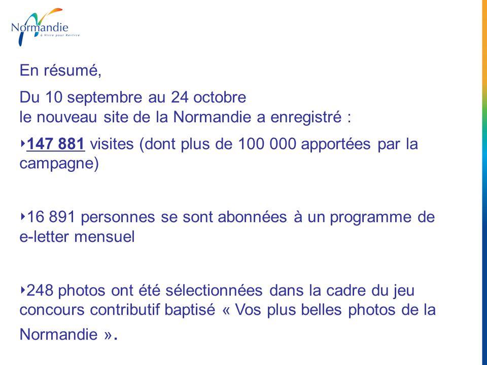 En résumé, Du 10 septembre au 24 octobre le nouveau site de la Normandie a enregistré :