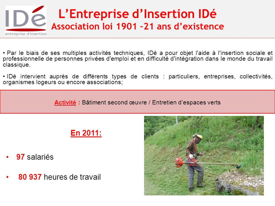L'Entreprise d'Insertion IDé Association loi 1901 –21 ans d'existence