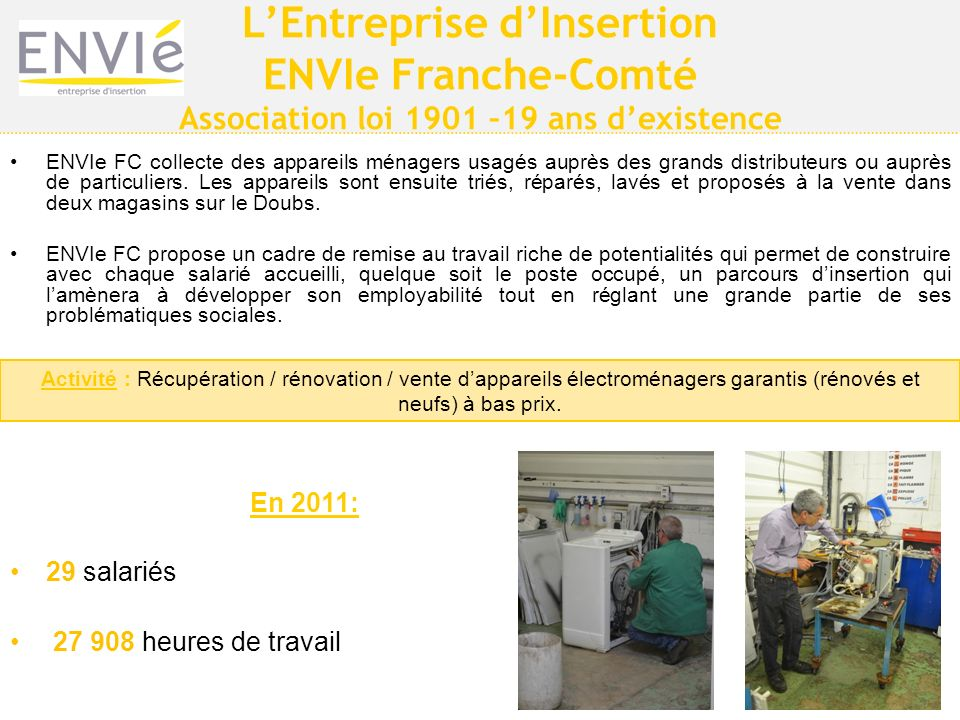L'Entreprise d'Insertion Association loi 1901 –19 ans d'existence