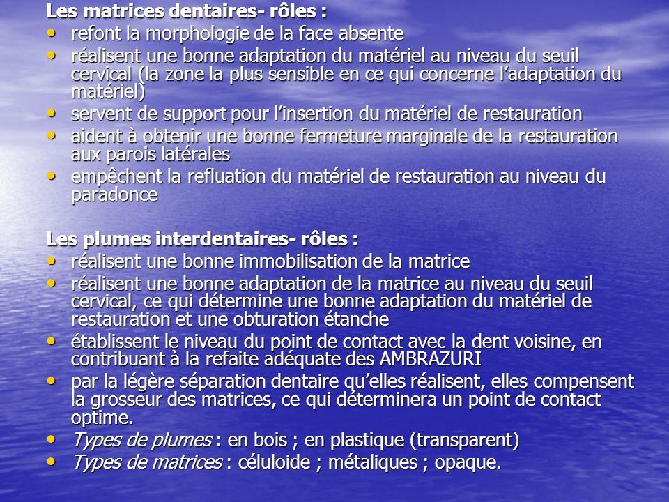 Les matrices dentaires- rôles :
