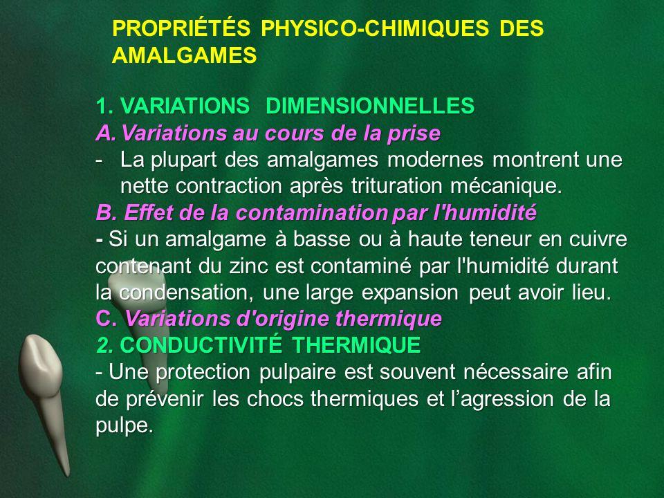 PROPRIÉTÉS PHYSICO-CHIMIQUES DES AMALGAMES