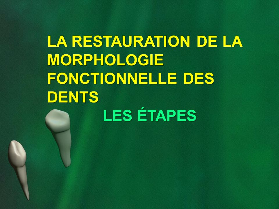 LA RESTAURATION DE LA MORPHOLOGIE FONCTIONNELLE DES DENTS