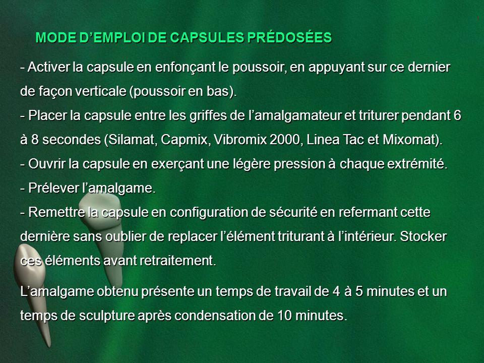 MODE D'EMPLOI DE CAPSULES PRÉDOSÉES