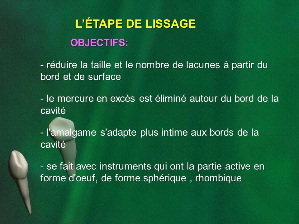L'ÉTAPE DE LISSAGE OBJECTIFS: