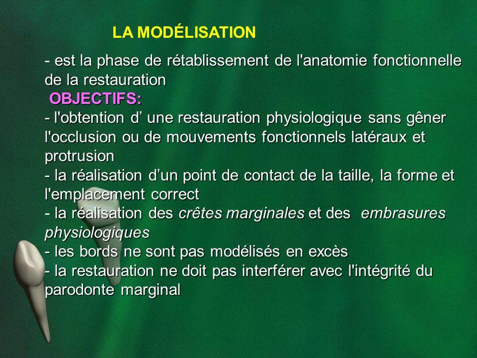 LA MODÉLISATION est la phase de rétablissement de l anatomie fonctionnelle de la restauration. OBJECTIFS: