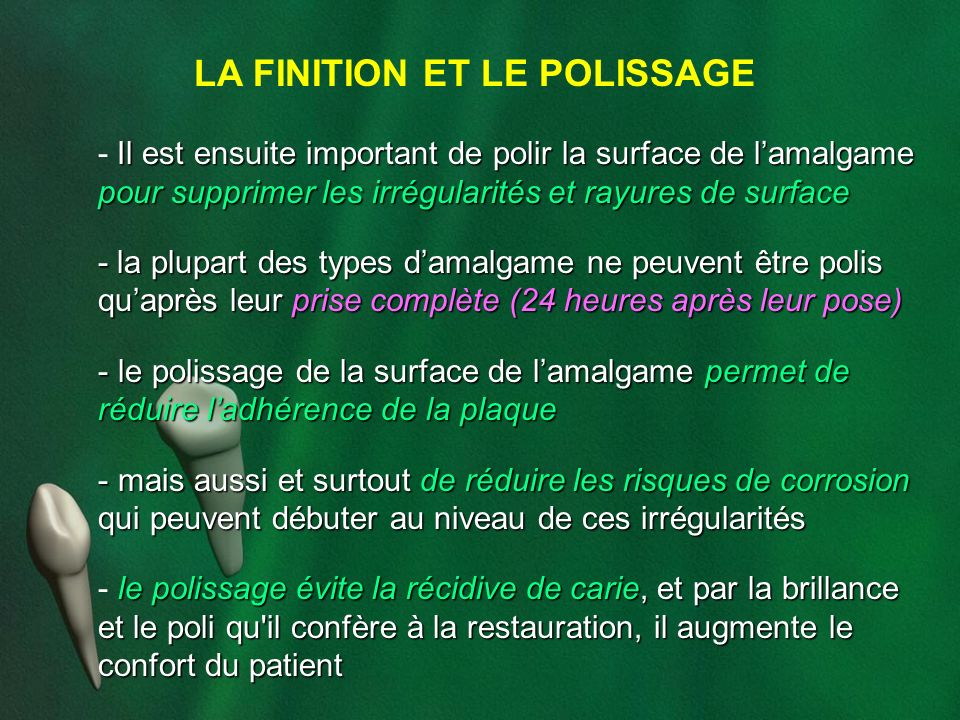 LA FINITION ET LE POLISSAGE
