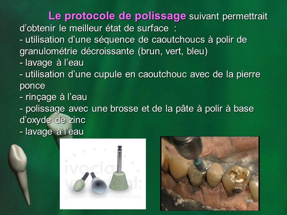 Le protocole de polissage suivant permettrait d'obtenir le meilleur état de surface :