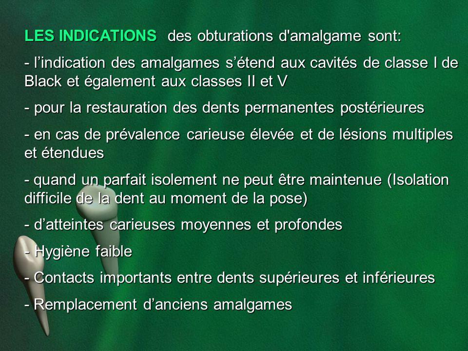 LES INDICATIONS des obturations d amalgame sont: