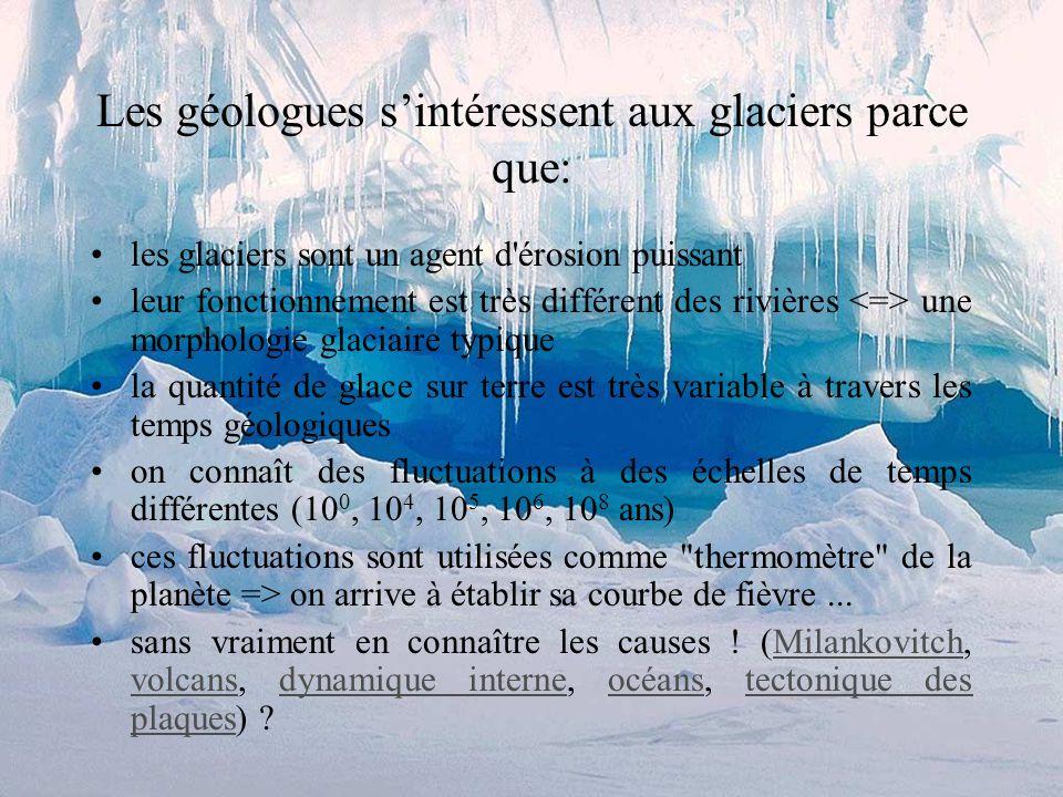 Les géologues s'intéressent aux glaciers parce que: