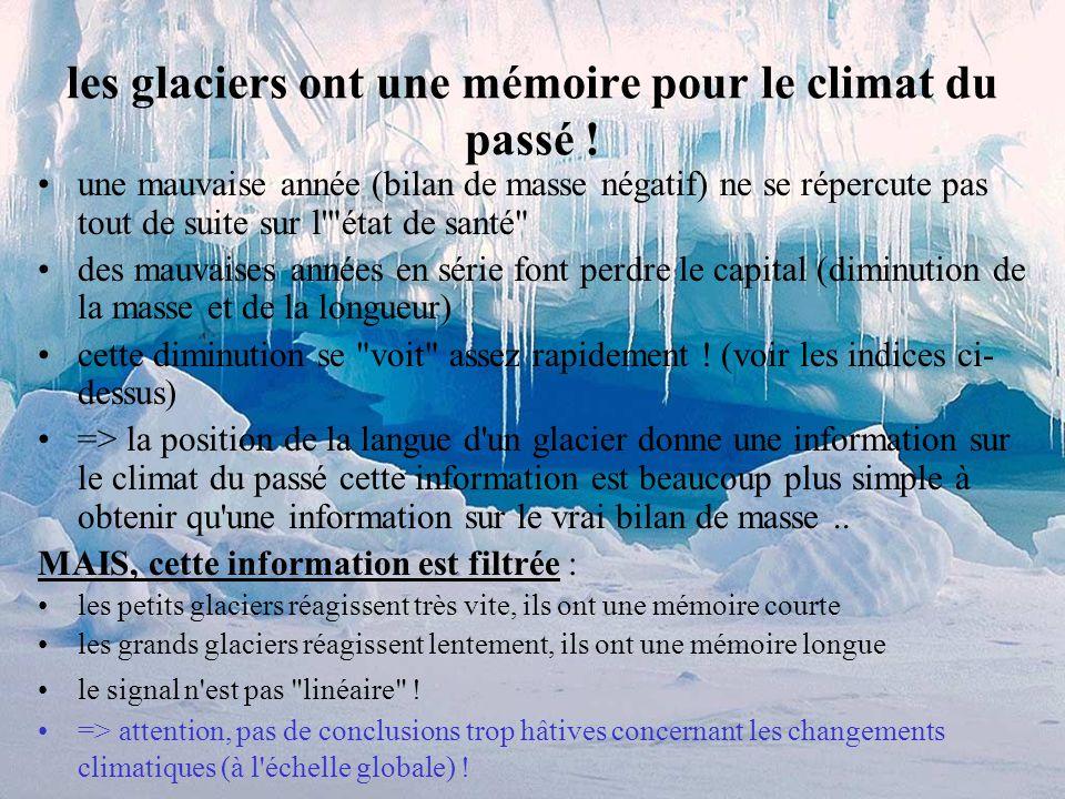 les glaciers ont une mémoire pour le climat du passé !
