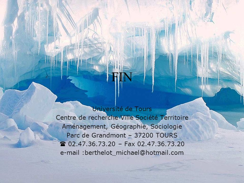 FIN Université de Tours Centre de recherche Ville Société Territoire