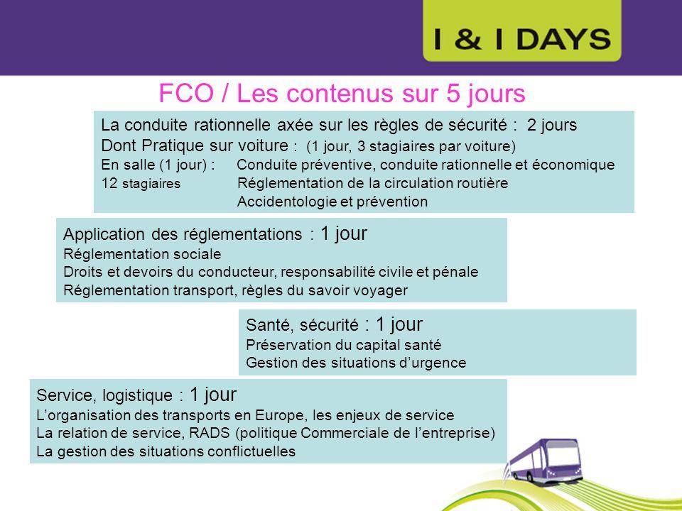 FCO / Les contenus sur 5 jours