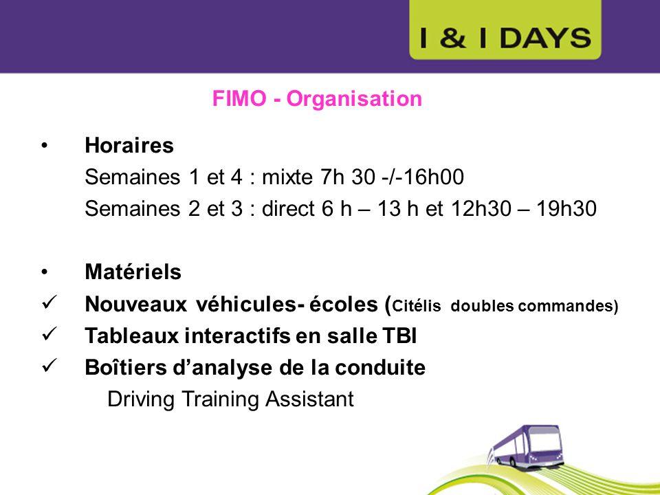 FIMO - Organisation Horaires. Semaines 1 et 4 : mixte 7h 30 -/-16h00. Semaines 2 et 3 : direct 6 h – 13 h et 12h30 – 19h30.