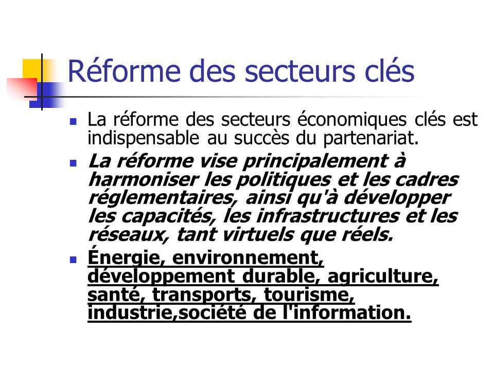 Réforme des secteurs clés