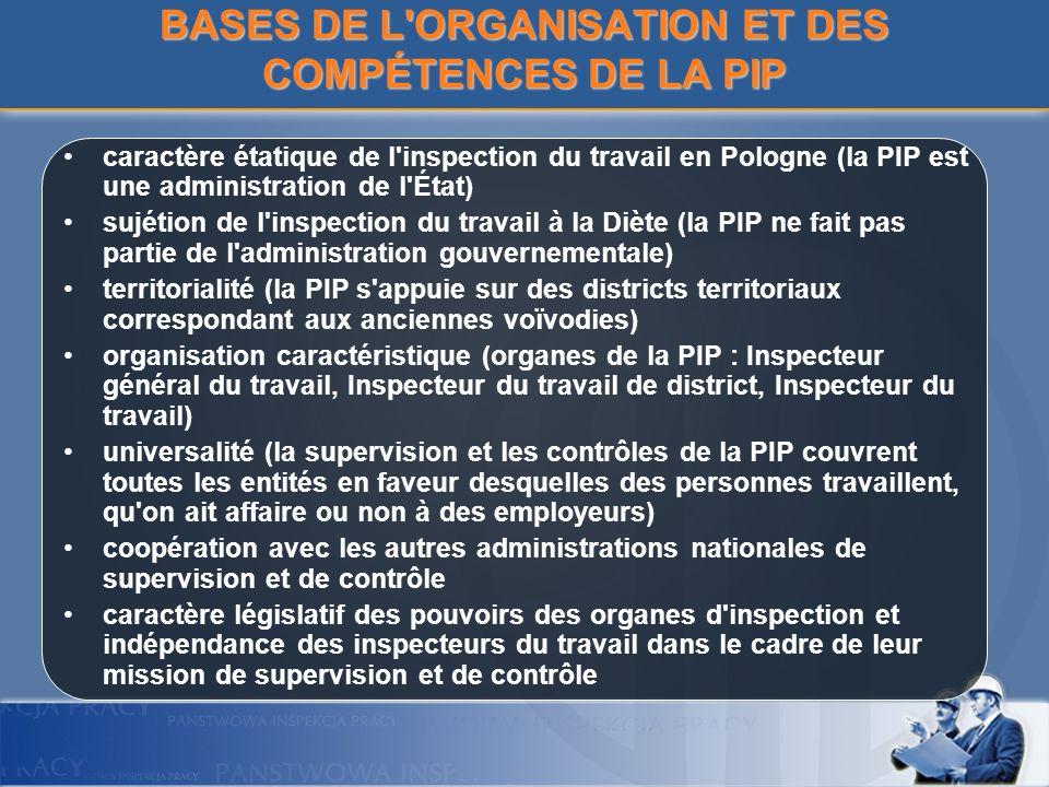 BASES DE L ORGANISATION ET DES COMPÉTENCES DE LA PIP